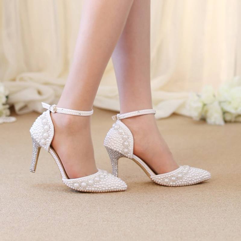 Women Summer Sandals Pointed Toe Rhinestone Pearl Wedding Party Shoes Gorgeous Bridal Shoes with Ankle Straps White Red and Pink pointed toe white pearl rhinestone wedding shoes 7cm 9cm thin heels shoes fashion bridal shoes female party sandals