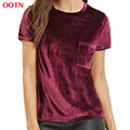 OOTN 2017 new summer cotton velvet pocket women short wine red T-shirt tops shirt tee t shirt o-neck women velvet top burgundy