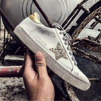 VIXLEO Luxury Casual Shoes Brand Sneakers Golden Women Silver Diamond White Flats Genuine Leather Shoes Crystal Goose Trainers