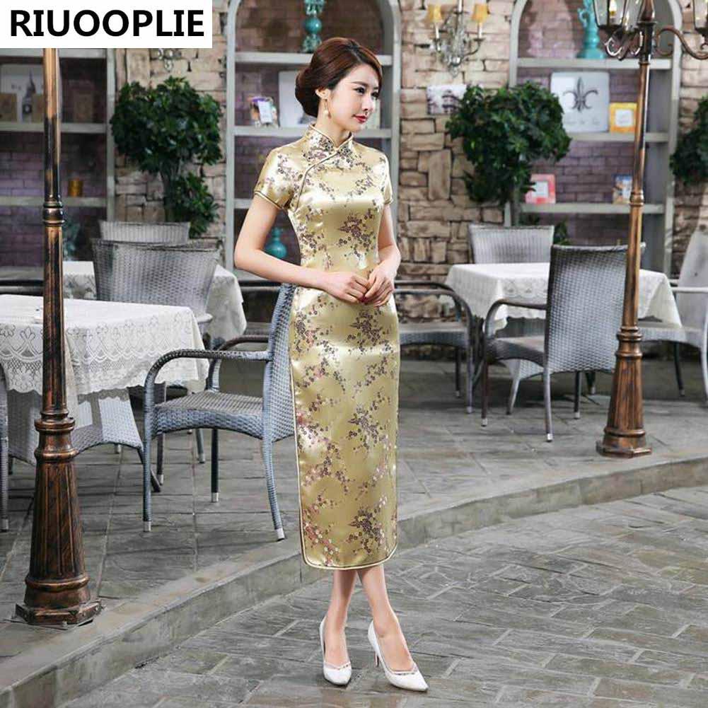 RIUOPLIE الصينية نمط اللباس المرأة طويلة شيونغسام أنيقة فساتين تشيباو سليم