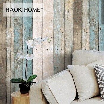 HaokHome Papel Tapiz 3d Papel Pintado 0.53mx10m de Madera del Tablón, Azul/Beige/Marrón, Papel Pintado de los Murales de Madera para la Decoración Casera/Baño/Cocina