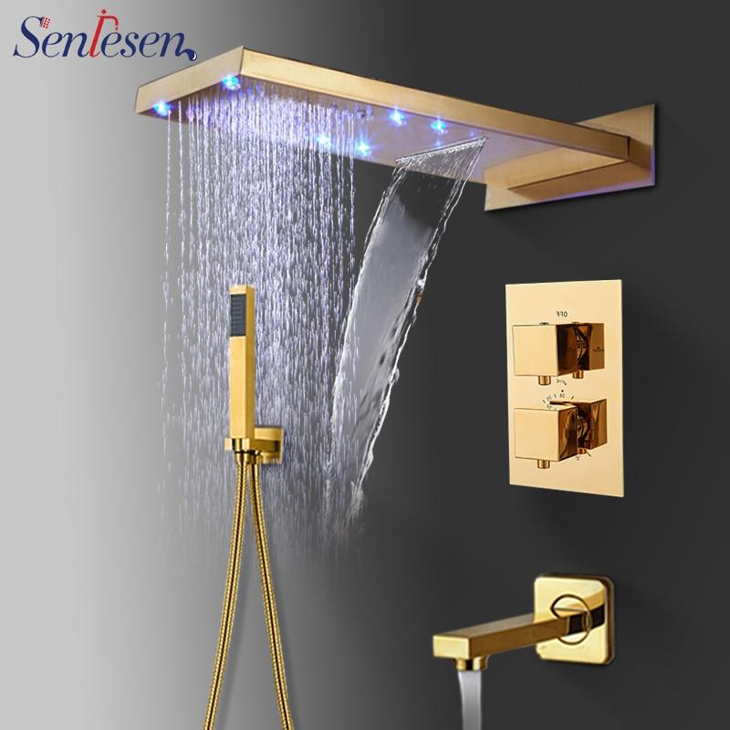 Senlesen Luxury Gold Finish Bathtub Mixer Tap Round Shower Head Wall Mounted Hot Cold Water Tap with Handheld Sprayer