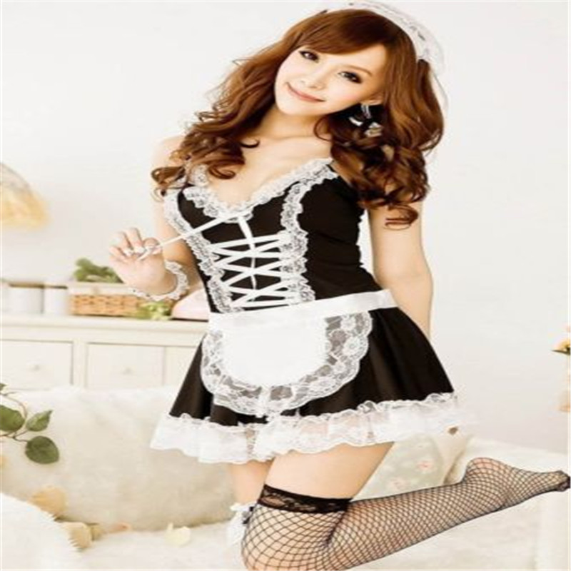 Sexy Lingerie Cosplay French Apron Maid Servant Lolita Sexy Costume Babydoll Dress Uniform Erotic Lingerie Role Play Hot 2017