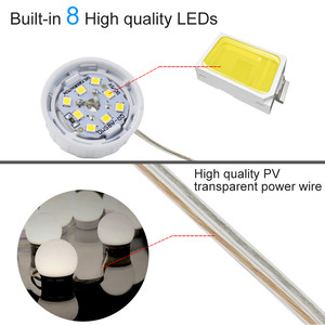 Image 5 - USB 5V LED Makeup Mirror Light Bulb 2 6 10 14 Bulbs Kit Touch Dimmable For Dressing Table Hollywood Vanity Light Mirror Bulbs