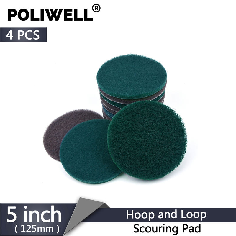 POLIWELL 4PCS 125mm Multipurpose Flocking Scouring Pad Industrial Heavy Duty Round Nylon Cloth For Kitchen Polishing Cleaning