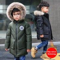Children's clothing boy winter coat cotton long section cotton clothes children big children 2018 new coat fur collar thickening