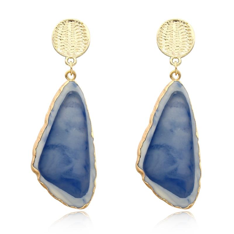 Dayoff Charms Boho Korea Irregular Drop Dangle Earrings Gold Earrings For Woman Jewelry India Large Resin Long Earings E231
