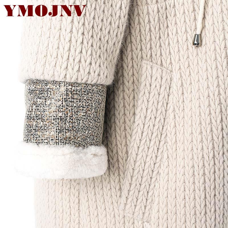 Chaud Couture Fourrure Long Hiver Tricot Agneau Beige Feminino Outwear Casaco Manteau Capuchon Femmes Laine Nouveau De Veste À Ymojnv Luxe Femelle fz5qB5gw