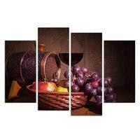 4 Paneller Vintage Wall Art Kırmızı Şarap Üzüm Meyve Tuval Boyama HD Natürmort Boyama Oturma Odası Dekorasyon için