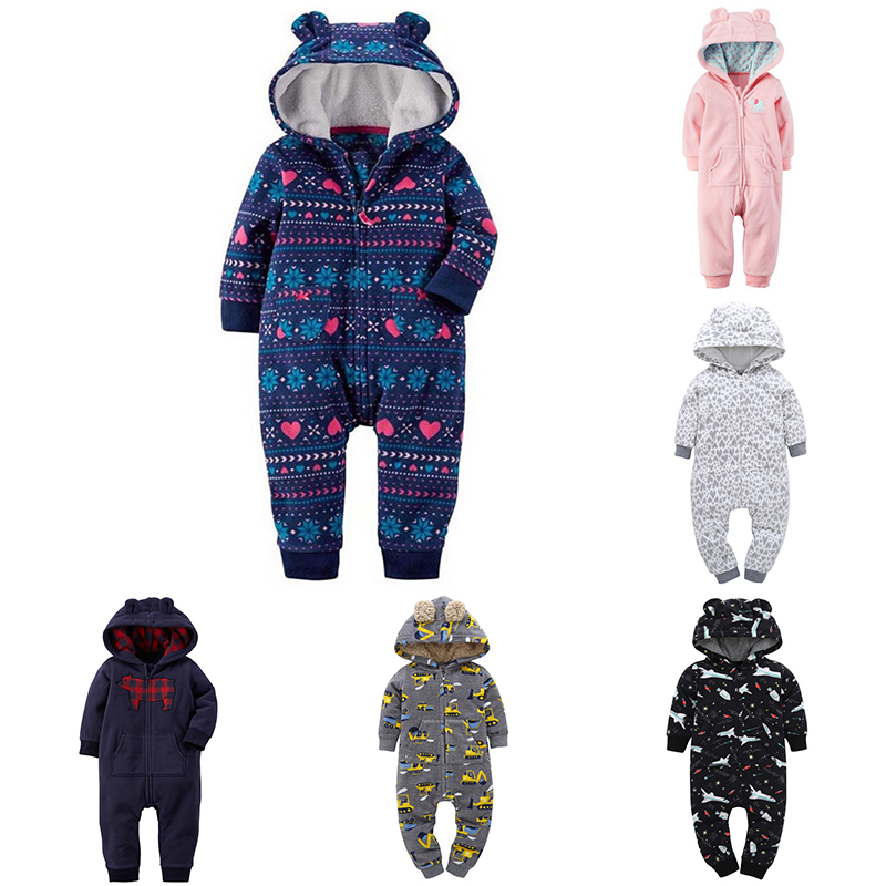 Autumn Winter Bebes Jumpsuit Baby Rompers Cartoon Hooded Newborns Fleece Costumes infantil Costumes Baby Girls Boys Clothes