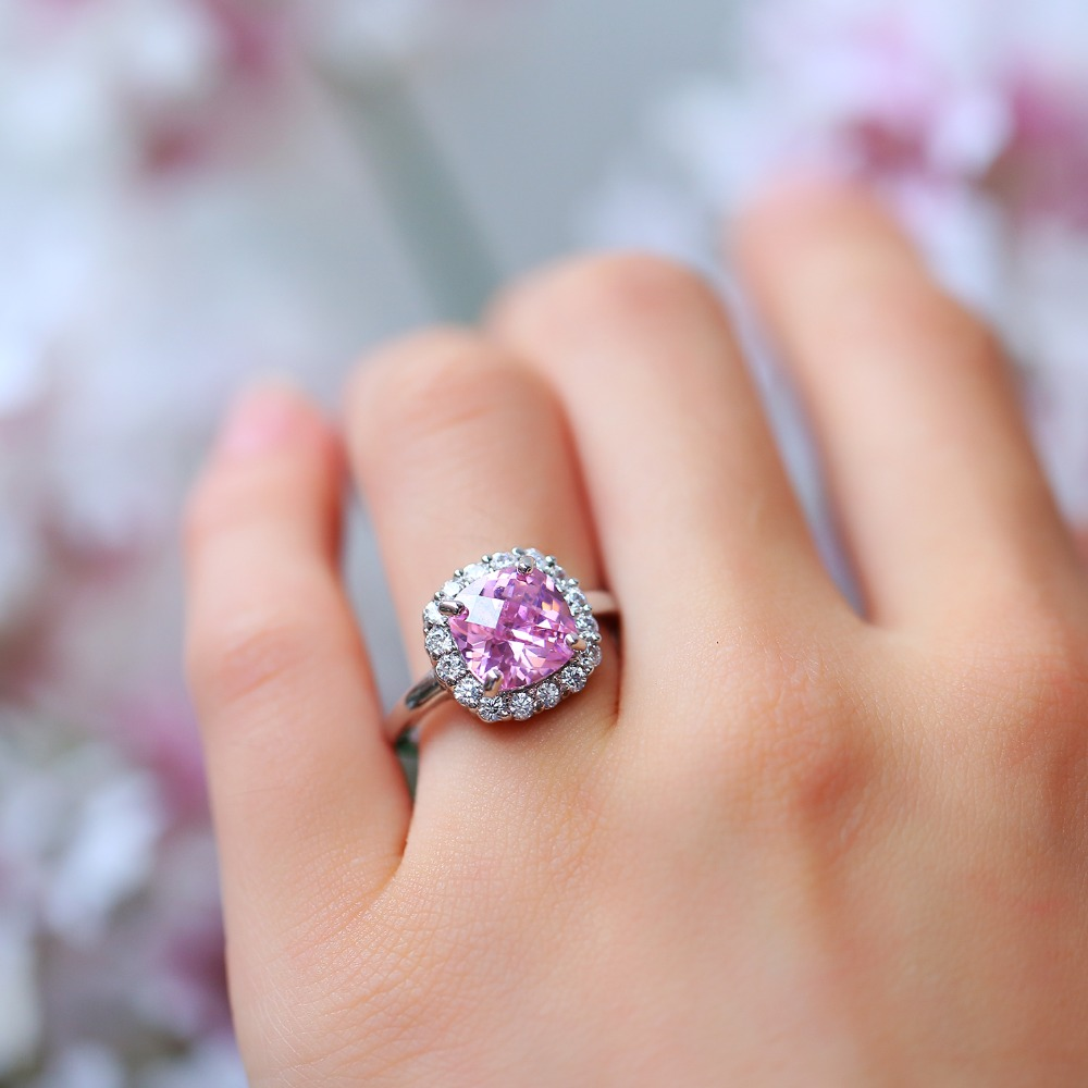 Pink Ring Wedding Engagement Zirconia Finger anel for Women Jewelry ...