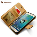 Jisoncase Genuine Leather Wallet Case For Samsung Galaxy S6 G9200/S6 Edge G9250/S6 Edge Plus G9280 Magnet Phone Case Card Slot