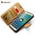 Jisoncase genuíno couro carteira case para samsung galaxy s6 g9200/s6 edge g9250/s6 edge plus g9280 ímã case slot para cartão de telefone
