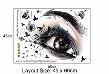 Beautiful Eyes Wall Stickers Black Flowers Eyelash Birds Wallpaper