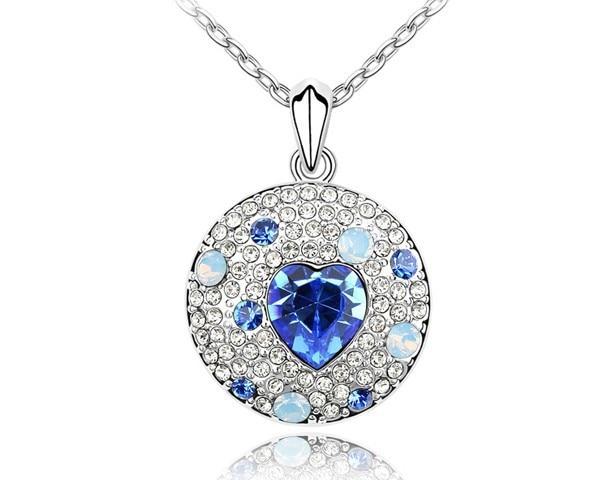 Ronde Pendentif Coeur Colliers Pour Les Couples Autrichien Cristal Lady  Hommes Bijoux Accessoires Pour Femme Colliers 355d3386c7f9