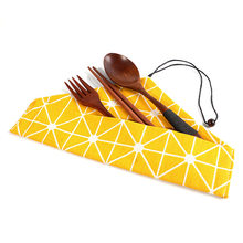 Wooden Cutlery Set Wooden Korean Chopsticks Fork Spoon Set Portable Tableware with Close Bag for Travel Outdoor Dinnerware Set(China)