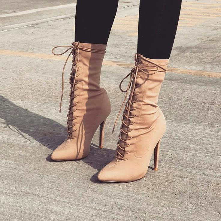 Sexy Pointed Toe Lace-up Ankle Boots Women Suede Cut-out Gladiator Sandals Bootie High Heels Stiletto Heels Runway Boots Size 10 roho ethnic suede fringe gladiator sandals women ankle boots lace up high heels shoes woman cut out summer boots botas mujer