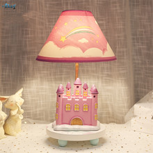 Pink Princess Castle Table Lamps Girl Bedroom Bedside Room With Plug Children Decor Holiday Gift Study Desk Lights Fixtures