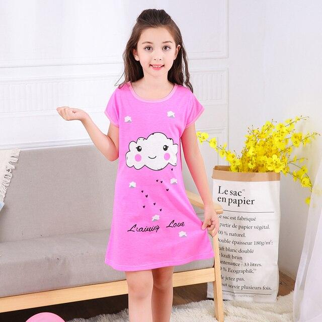 75458c81add Children Sleepwear & Robe girls short sleeved nightgown summer kids  nightdress tracksuit girls cartoon cotton housewear 2018 new