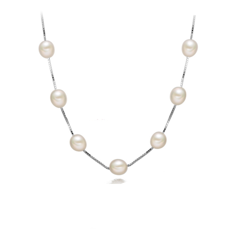High quality 7-8mm perfect Natural  Pearl  Box chain Necklace Fashion Jewelry necklace For women