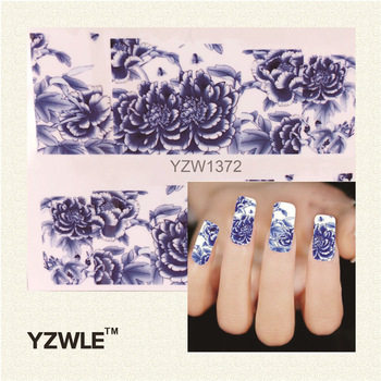 YZWLE 1Pcs Nail Art Water Sticker Nails Beauty Wraps Foil Polish Decals Temporary Tattoos Watermark(YZW1372)