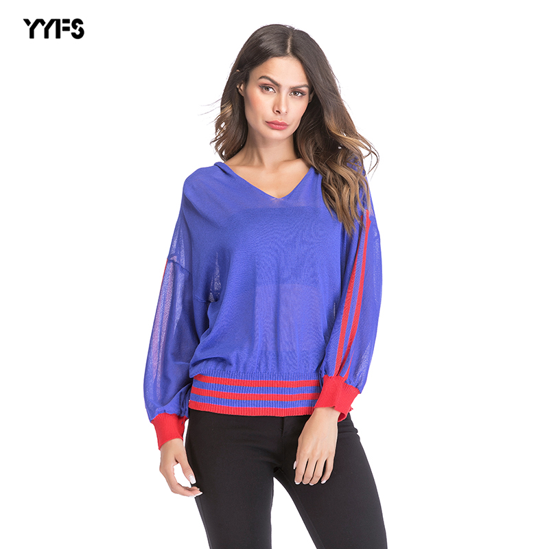 2018 European and American women's t-shirt V-neck striped openwork perspective shirt loose thin sweater