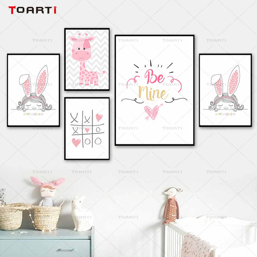 Wall art poster and print cartoon pink painting baby nursery room decor modern rabbits picture heart art murals charts