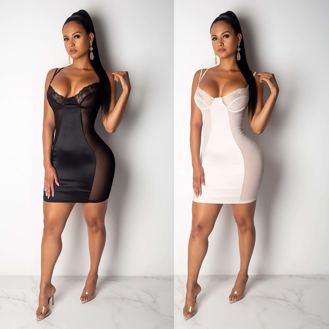 2019 Mesh Dress Women Sexy Dresses Perspective Black/White Fashion Mini Bodycon Dresses Club Vestidos Robes Plus Size M-3XL 3