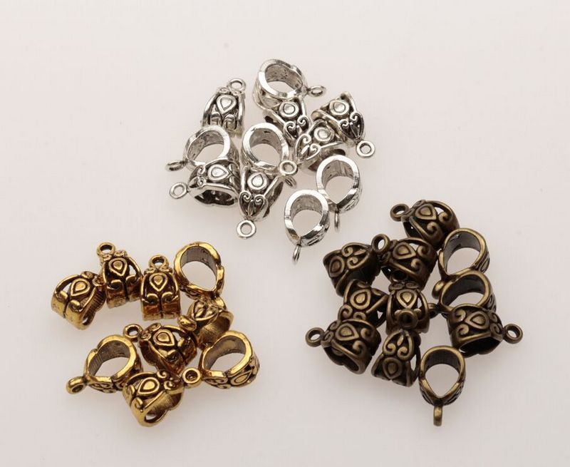 Hot! 120 pcs Antiqued Prata, Ouro, Bronze 6mm Buraco Charme Bail Connector Bead Fit Pulseira 7.5x13.5mm za195