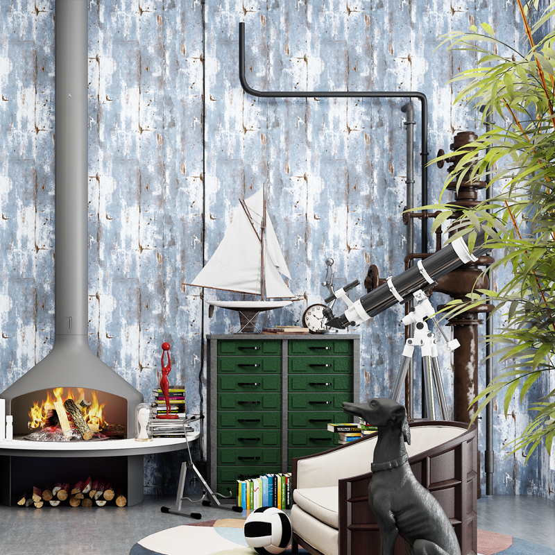 Industralized Loft Wallpapers Vintage Blue Wall Papers Home Decor Non-woven Mural Wall Paper Roll for Walls papel de pared modern wall papers home decor rustic romantic small flower non woven wallpaper roll for bedroom wallpapers floral for walls