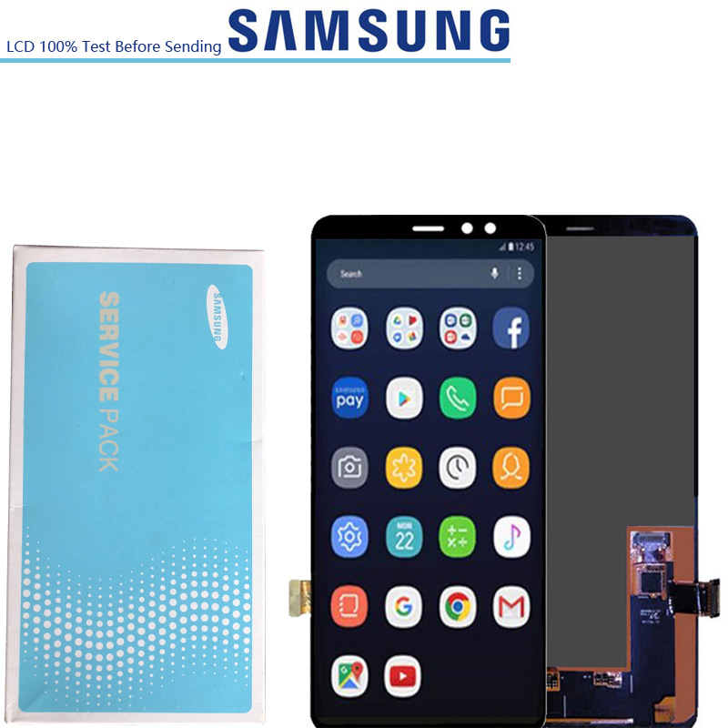6 0 ORIGINAL Super AMOLED LCDs Display For SAMSUNG A8 A8 2018 A730 A8 plus A730F