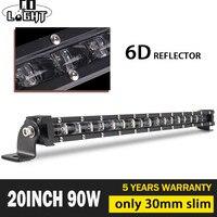 CO LIGHT 20 90W LED Work Light Bar 6D Spot Flood Combo Led Beams Offroad LED Bar Single Row Work Light 12V 24V for ATV SUV 4x4