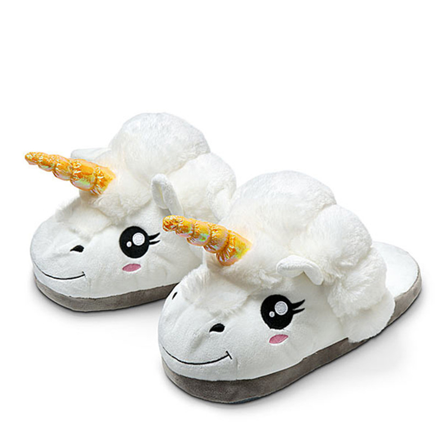 New Winter Indoor Cartoon Slippers Women Plush Home Shoes Unicorn Slippers for Grown Unisex Warm Home Female Slippers Shoes golden brass kitchen faucet dual handles vessel sink mixer tap swivel spout w pure water tap