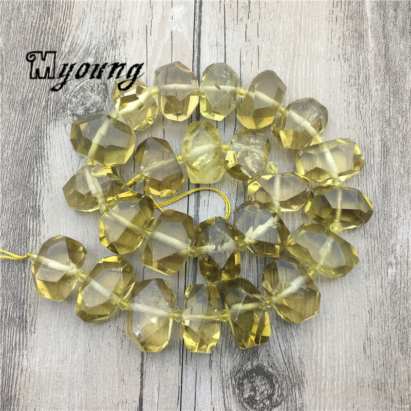 Faceted Citrines Lemon crystal Nugget Beads,Clear Yellow Crystal Quartz Beads,Topazs Center Drilled Beads For DIY Jewelry MY1777Faceted Citrines Lemon crystal Nugget Beads,Clear Yellow Crystal Quartz Beads,Topazs Center Drilled Beads For DIY Jewelry MY1777