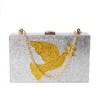 2017 NEUE Frauen Abendtasche Silber Pailletten Acryl Erfasst Schultertasche Handtaschen Crossbody Taschen Hardcase Damen kleine Box Clutch Bag