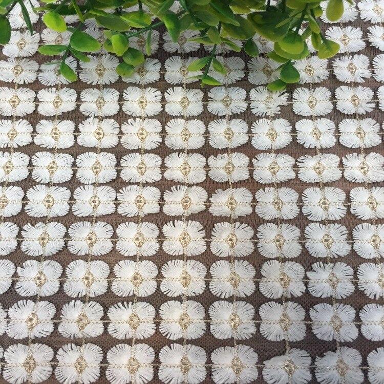 Fil de soie blanc tissu de soie doré broderie dentelle maille tissu robe de mariée tissu bricolage juste pour personnalisé