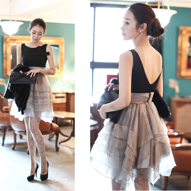 FreeShipping  2013 new summer luxury ladies elegant noble bow sexy  tank high waist Organza dress Party Dresses High Quality D66
