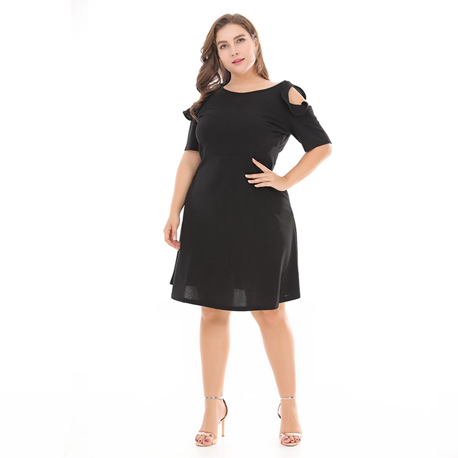 2018 Spring Summer Dresses Women's Cotton Plus Size Bandage Dress Sexy Party Off Shoulder O Neck Knee Dress Large Size XL-6XL