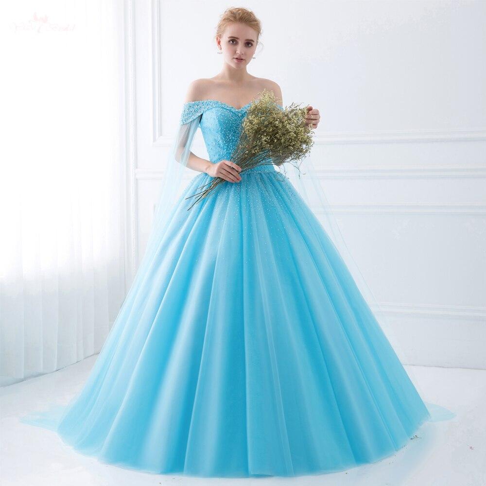 TE017 robe De bal princesse royale bleue à épaules dénudées avec Cape Vestido De Festa