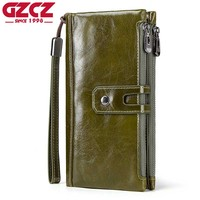 GZCZ Clutch Wallets 100% Genuine Leather Long Purse Double zipper Fashion Business/OL Office Bags With Cellphone Pocket Coin