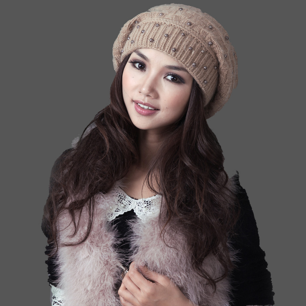 Autumn And Winter New Women Hat Winter   Beanies   Knitted Hats For Woman Rabbit Fur Cap Ladies Fashion   Skullies   Free Shipping