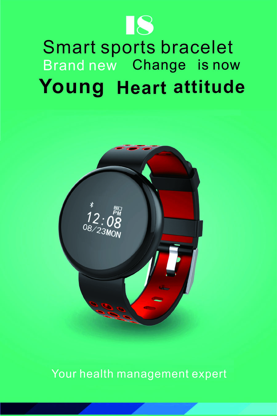 Waterproof Sports bluetooth blood pressure heart rate monitor smartband For iphone