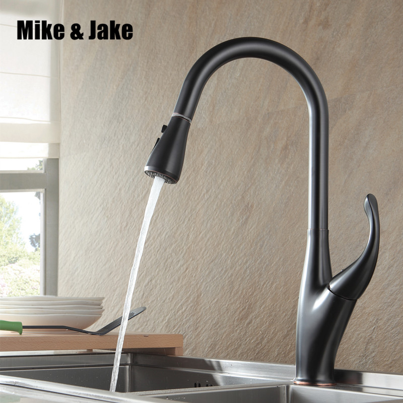 New ORB black pull out kitchen faucet brass luxury kitchen mixer sink faucet mixer kitchen faucets pull out kitchen tap MJ5559 flg best quality wholesale and retail pull out brass low pressure kitchen faucet black colour deck kitchen tap mixer pull up