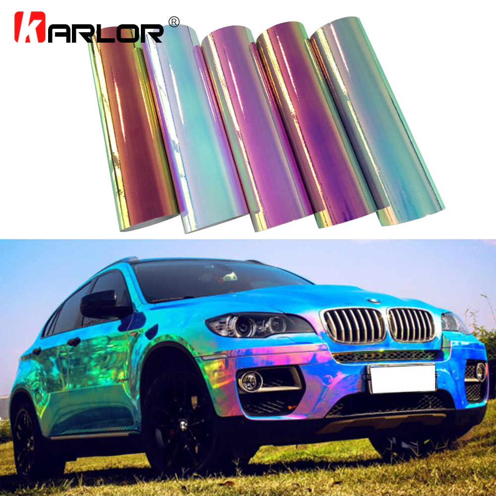 30x100cm chrome rainbow mirror film holographic film laser rainbow vinyl motorcycle automobiles car wrapping stickers and decal
