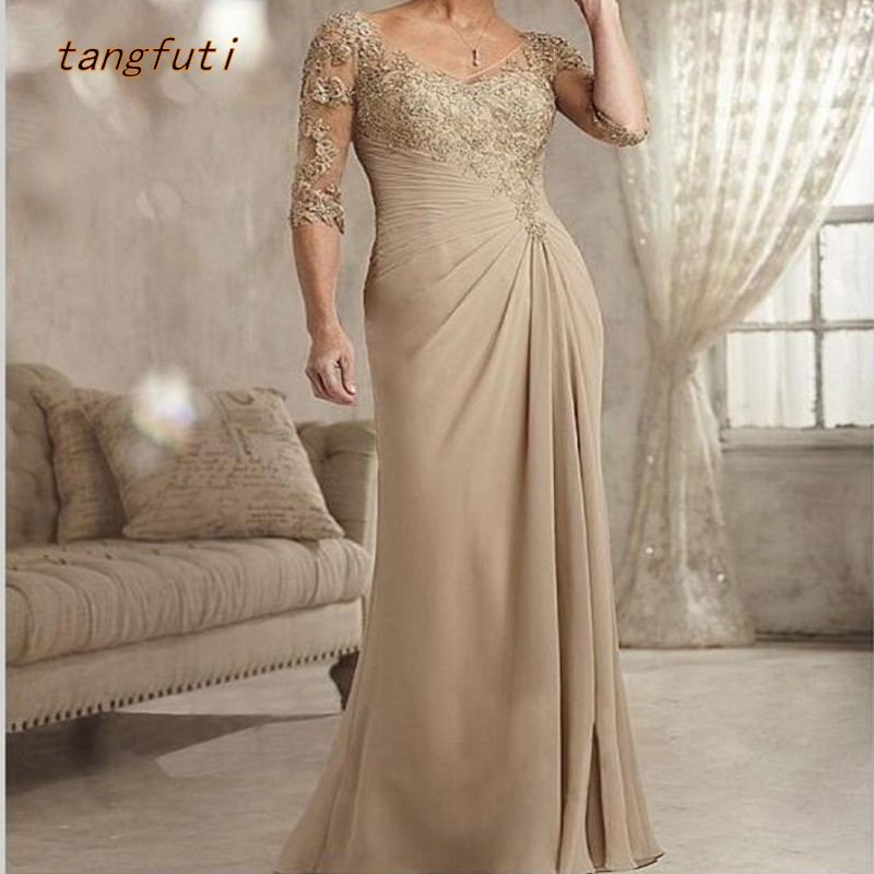 Mother Of The Bride Dresses Half Sleeve V Neck Appliques A Line Elegant Long Formal Evening