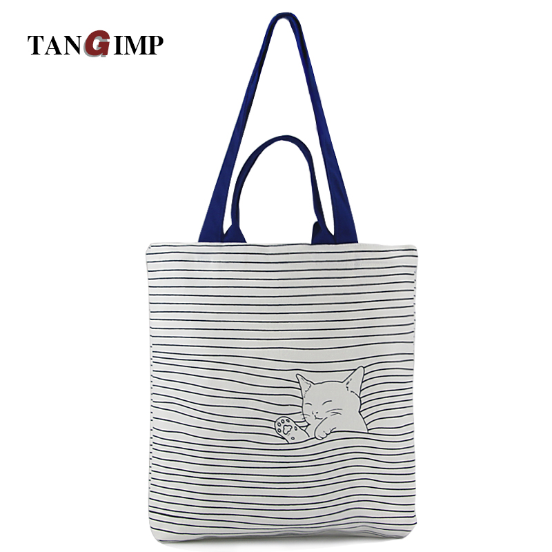 TANGIMP Cute Checked Cat Cotton Canvas Handbags Eco Daily Female Single Shoulder School Shopping Bags Tote Women Beach Bags