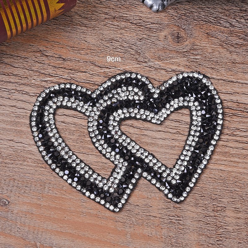 Double Heart Exquisite Rhinestone Stickers Heat Transfers For Clothes DIY Embroidery Applique For T-shirt Clothing Decor (9)