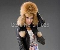 Female Male Winter Plus Size Thick Fox Fur Hat Woman Man Protection Ear Fox Fur Caps Women Men Plus Cotton Warm Bomber Hats