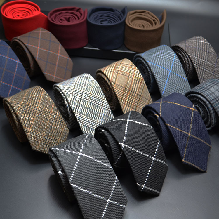 Mens Ties 6cm Classic Cotton Handmade Skinny Neck Ties For Men Striped Narrow Collar Slim Cashmere Tie Casual Plaid Tie For Man