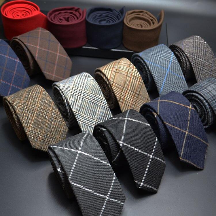 Mens Ties 6cm Classic Cotton Handmade Skinny Neck Ties For Men Striped Narrow Collar Slim Cashmere Tie Casual Plaid Tie For Man